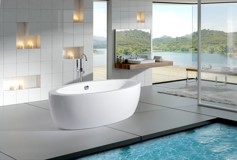 Freistehende Badewanne MODENA ACRYL weiß BS-859 185x91 inkl. Ab/ Überlauf