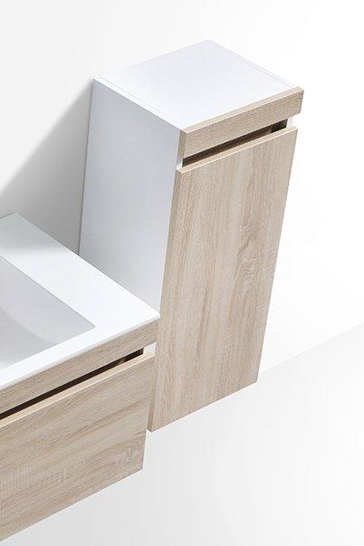 Badmöbel-Set Easy 1200 Weiß inkl. Seitenschrank - Front Eiche hell - Spiegel optional zoom thumbnail 5