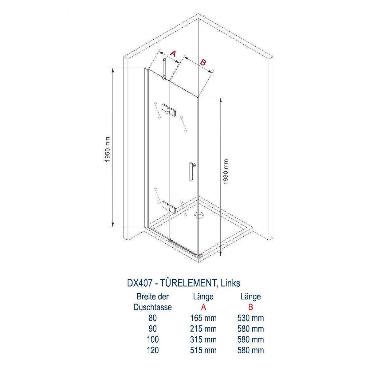 Duschkabine Eckdusche 8 mm Nano Echtglas DX407 - Breite wählbar zoom thumbnail 3