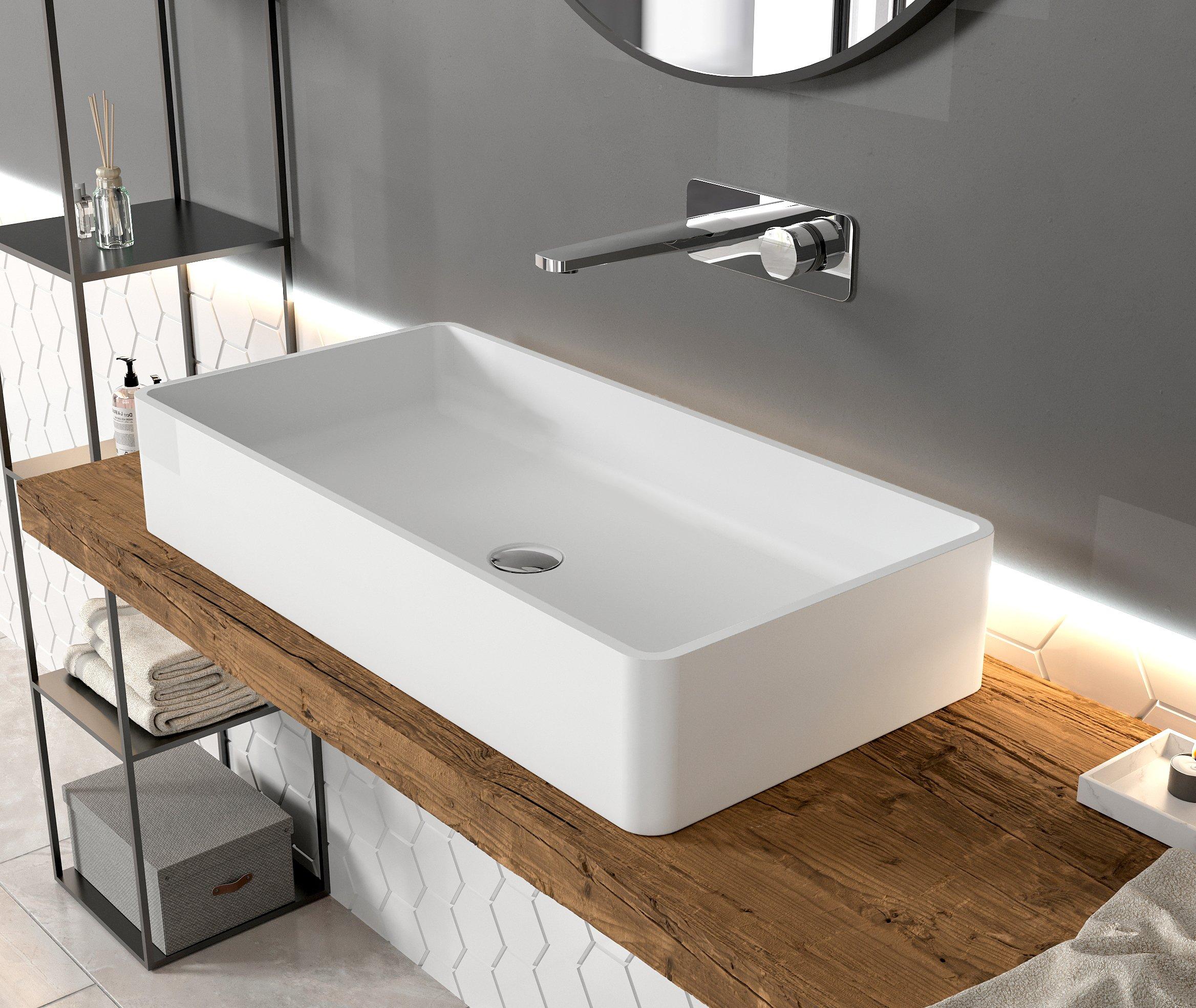 Aufsatzwaschbecken PB2013 aus Mineralguss Solid Stone - 80 x 40 x 14,5 cm - Weiß Matt
