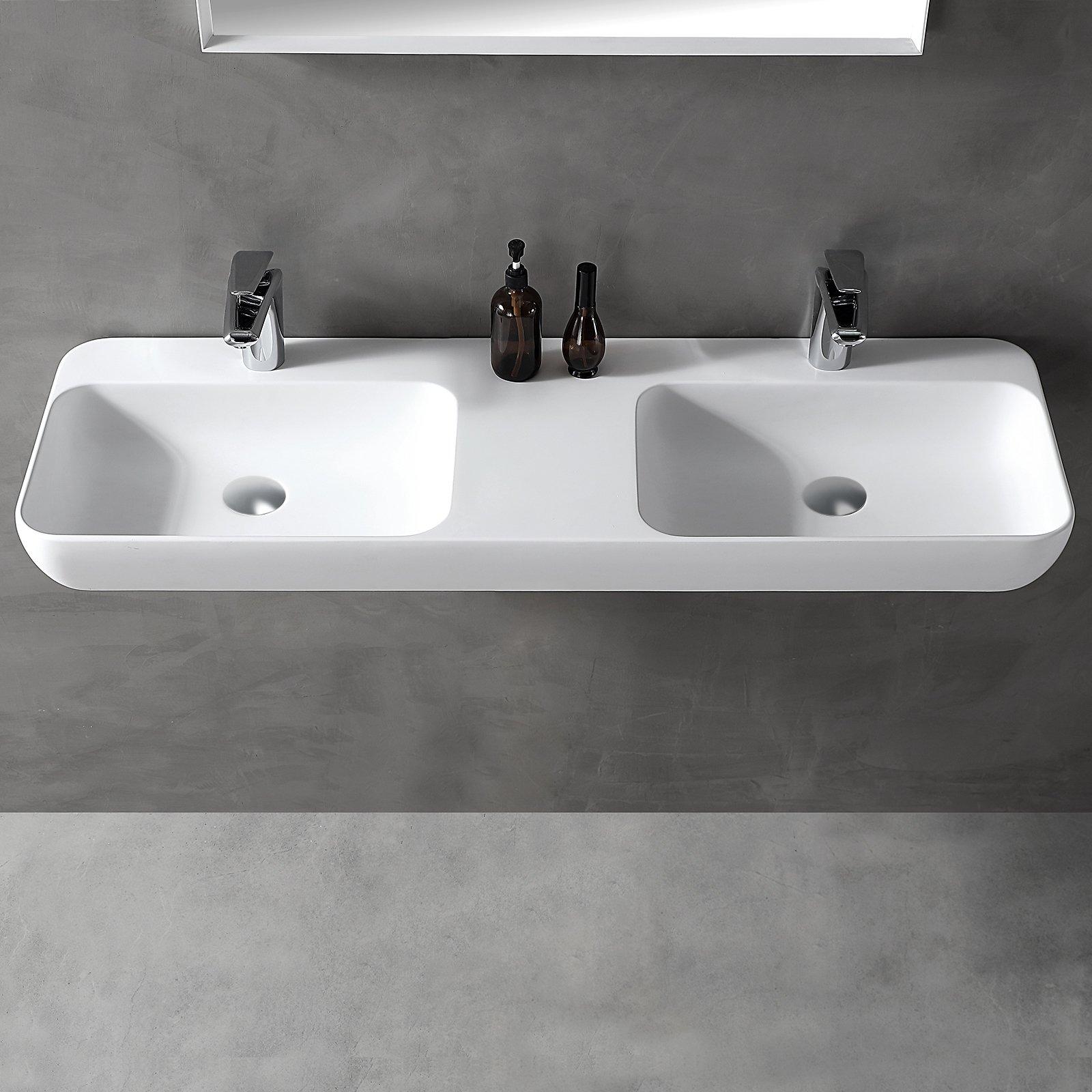 Wandwaschbecken Aufsatzwaschbecken TWG203 aus Mineralguss Solid Stone - Weiß matt - 120x40x12cm