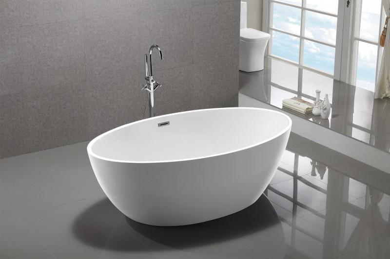 Freistehende Badewanne DESTINO Acryl weiß - 175x100cm - Armatur optional zoom thumbnail 3