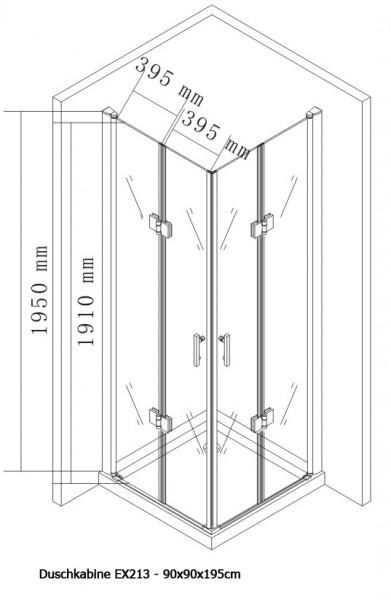 Duschkabine Eckeinstieg Falttür Nano Echtglas 8mm EX213 - 90 x 90 x 195 cm zoom thumbnail 5