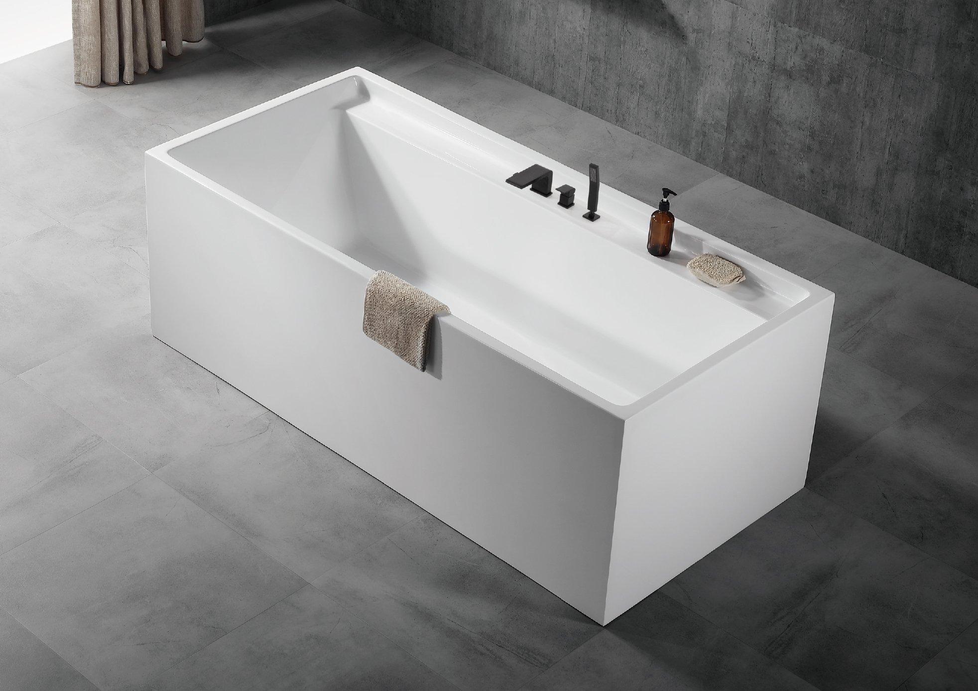 Freistehende Badewanne VERONA Acryl weiß - 170 x 80 x 60 cm - Standarmatur wählbar zoom thumbnail 6