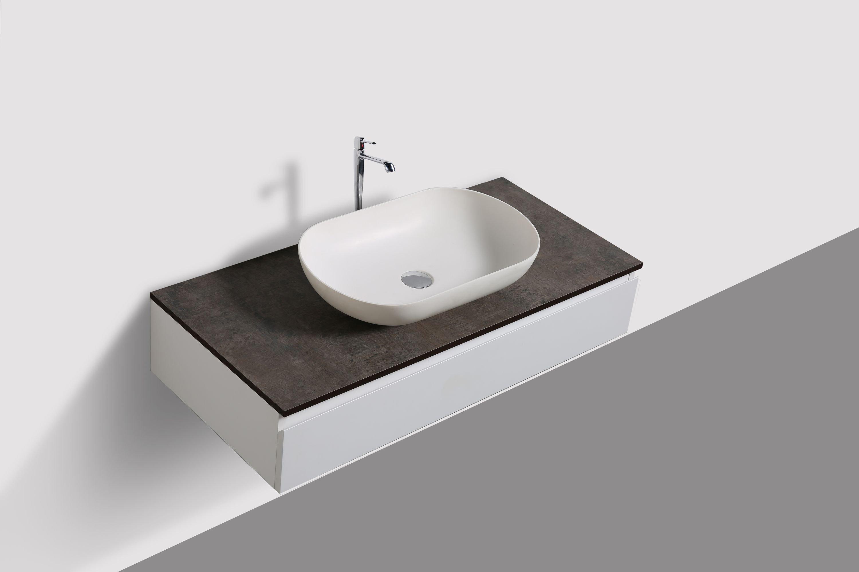 Badmöbel Vision 1000 Weiß matt - Spiegel und Aufsatzwaschbecken optional