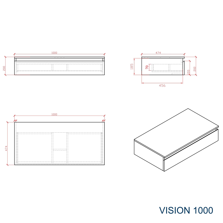 Badmöbel Vision 1000 Weiß matt - Spiegel und Aufsatzwaschbecken optional zoom thumbnail 3