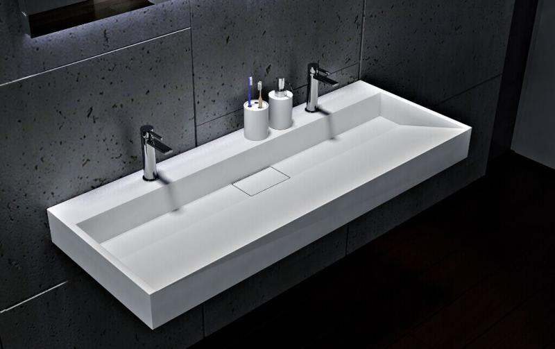 Wandwaschbecken Aufsatzwaschbecken BS6001 mit 2 Armaturlöchern - Breite 120 cm