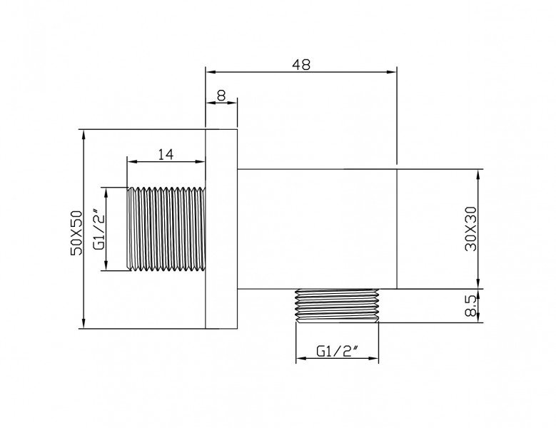 Hochwertiger Wandanschlussbogen BA007 - quadratisches Design