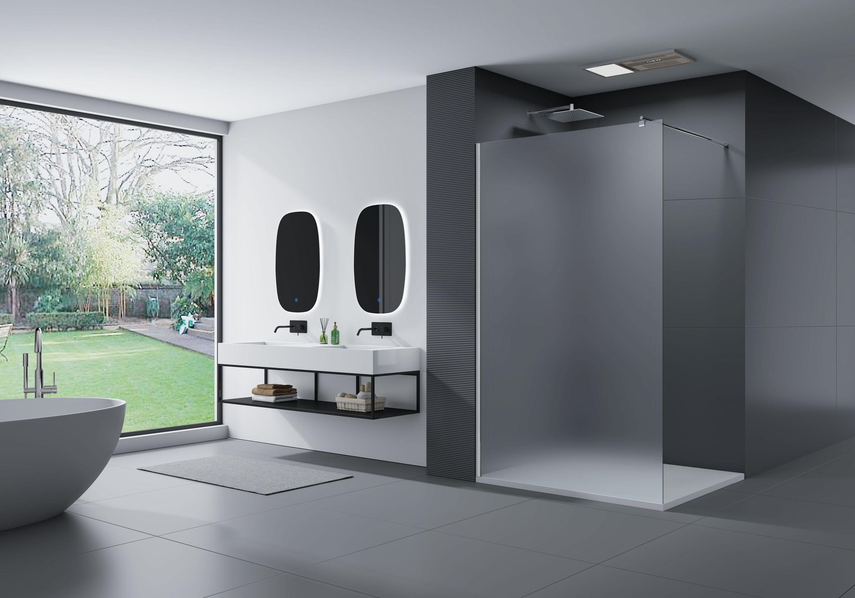 Duschabtrennung Walk-In Nano Echtglas EX101 - Milchglas - Breite wählbar