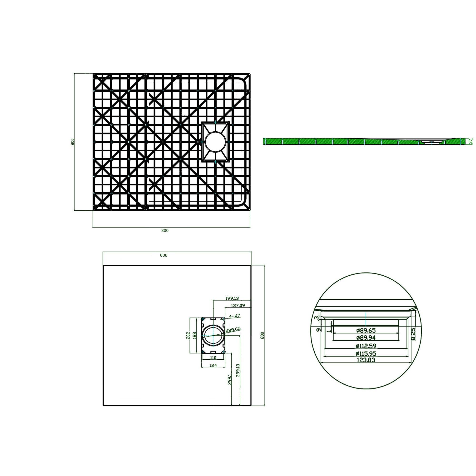 Duschtasse Duschwanne rechteckig GT-Serie in Schwarz aus SMC - Breite: 80 cm -  Zubehör wählbar zoom thumbnail 6