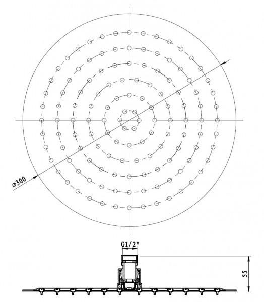 XXL-Regendusche Edelstahl-Duschkopf DPG2019 superflach - 30 cm rund zoom thumbnail 3