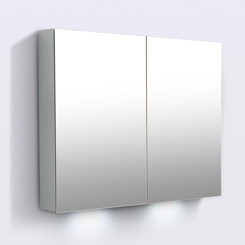 Aluminium-Spiegelschrank G900 2-türig - innen und außen Spiegel - 90 x 70 x 13 cm zoom thumbnail 3