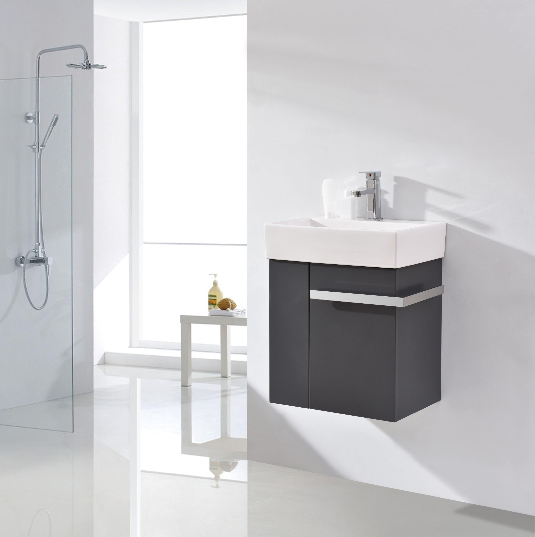Badmöbel-Set Compact 500 für Gäste-WC - Anthrazit matt