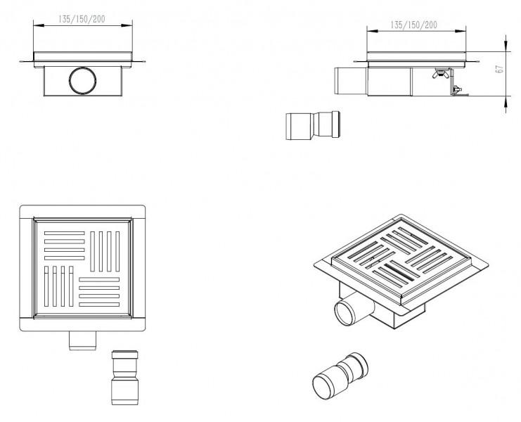 Edelstahl-Duschrinne S05 Bodenablauf für Duschkabine - inkl. Ablaufblende - Größe wählbar zoom thumbnail 3