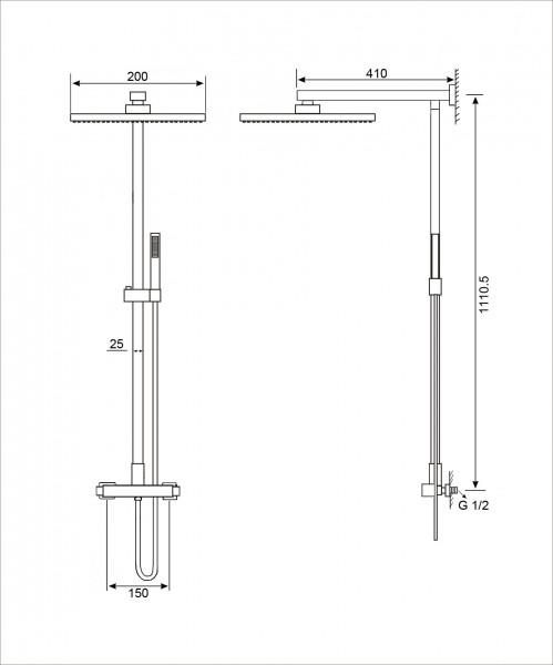 Design-Duschsystem Duschsäule SEDAL-Thermostat 8921C Basic (ohne Regendusche)