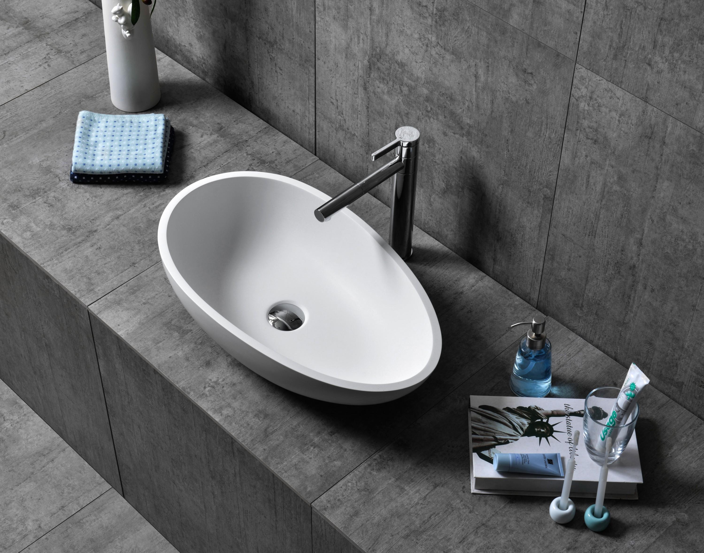 Aufsatzwaschbecken TWA65 aus Mineralguss Pure Acrylic - in Weiß oder Schwarz - 60x35x16cm zoom thumbnail 3