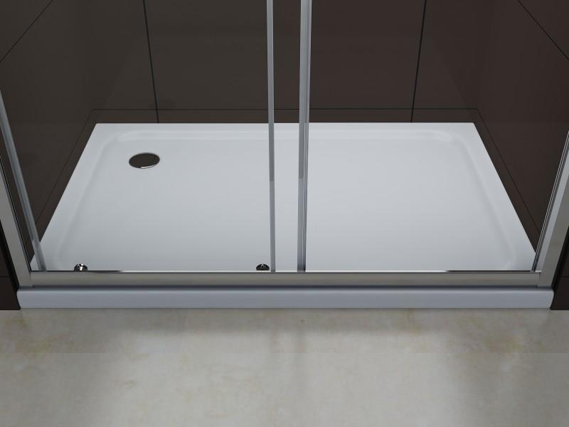 Duschabtrennung Schiebetür NANO Echtglas EX505 - Klarglas - Höhe 195cm - Breite wählbar zoom thumbnail 4