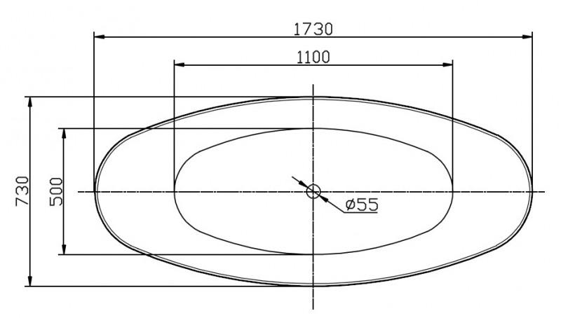 Freistehende Badewanne SIENA Acryl 173 x 73 cm - Weiß glänzend zoom thumbnail 3