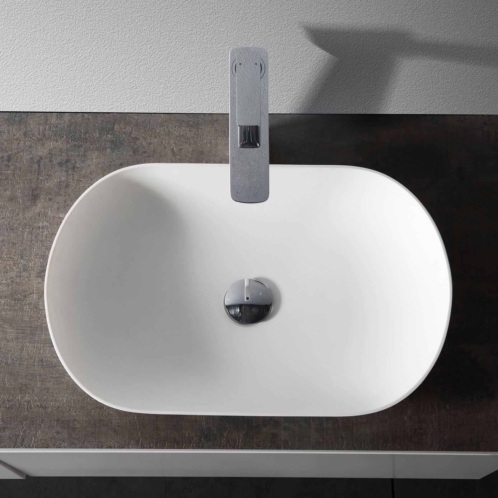 Aufsatzwaschbecken O-540 aus Mineralguss - Weiß matt - 54 x 34 x 10,5 cm zoom thumbnail 5