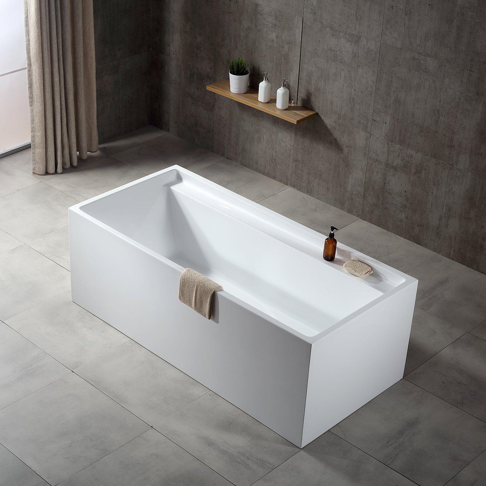 Freistehende Badewanne VERONA Acryl weiß - 170 x 80 x 60 cm - Standarmatur wählbar