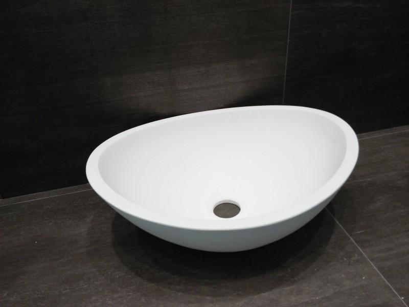 Aufsatzwaschbecken TWA29 aus Mineralguss (Pure Acrylic) - Weiß matt - 42x34x15cm