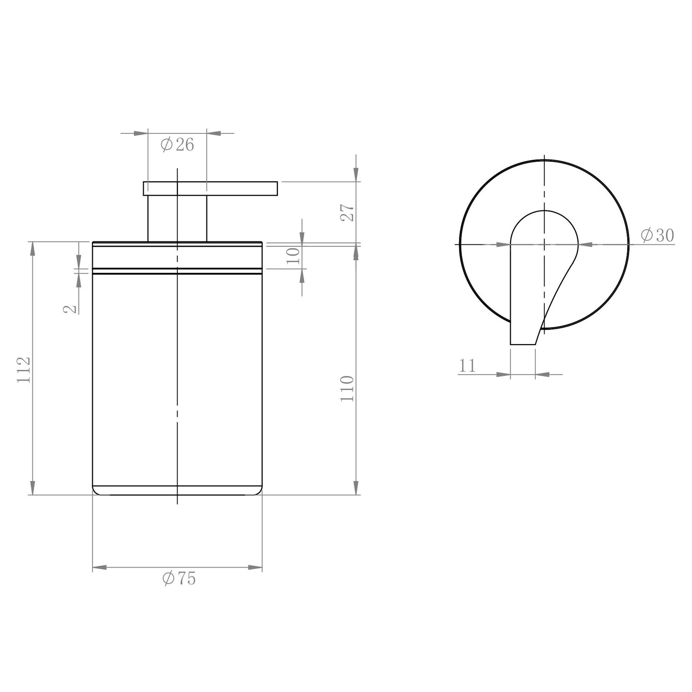 Edler Seifenspender SDVSS aus hochwertigem Edelstahl Design rund - Serie VERSA - chrom