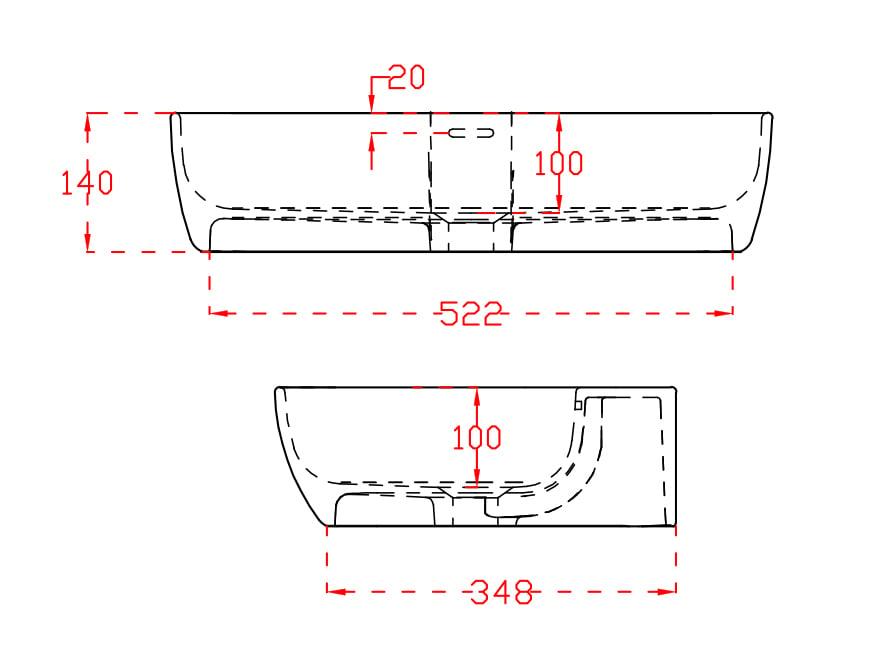 Wandwaschbecken Aufsatzwaschbecken TWG201 aus Mineralguss – Schwarz /Weiß matt – 60x40x14cm zoom thumbnail 3