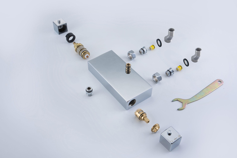 Design Duschsäule NT6705C mit Thermostat inkl. Duschschlauch und Handbrause - Auswahl Duschkopf eckig zoom thumbnail 3