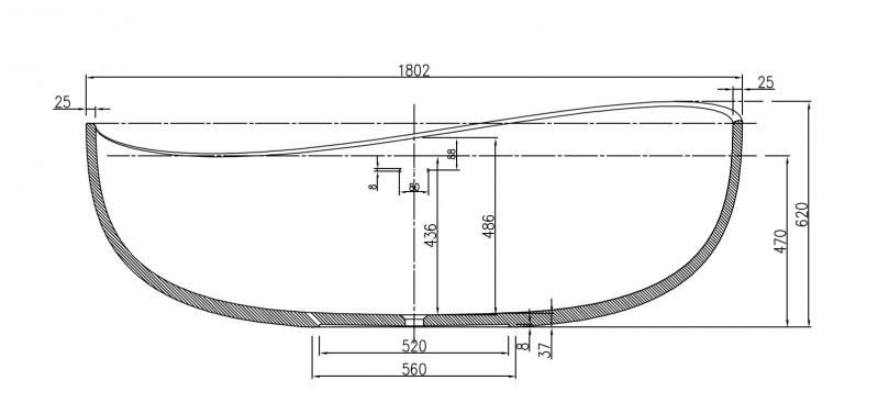 Freistehende Badewanne aus Mineralguss WAVE STONE weiß - 180 x 110 cm - Wählbar in Matt oder Hochglanz zoom thumbnail 4
