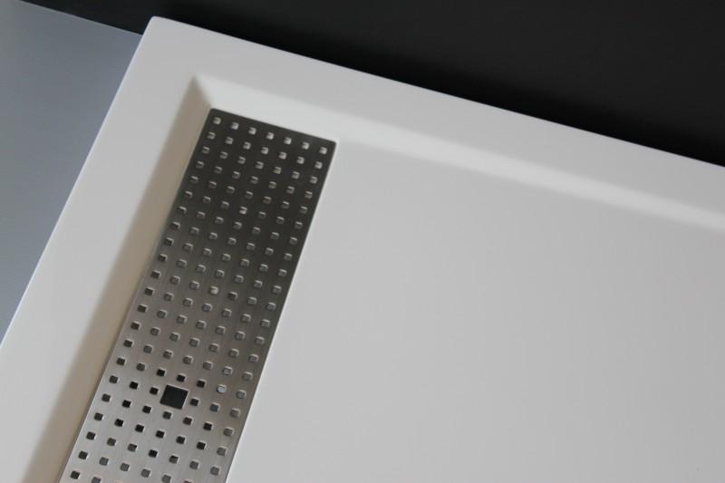 Mineralguss Duschtasse rechteckig 1480BW Edelstahl - Weiß glänzend - 140x80x4,5cm zoom thumbnail 3
