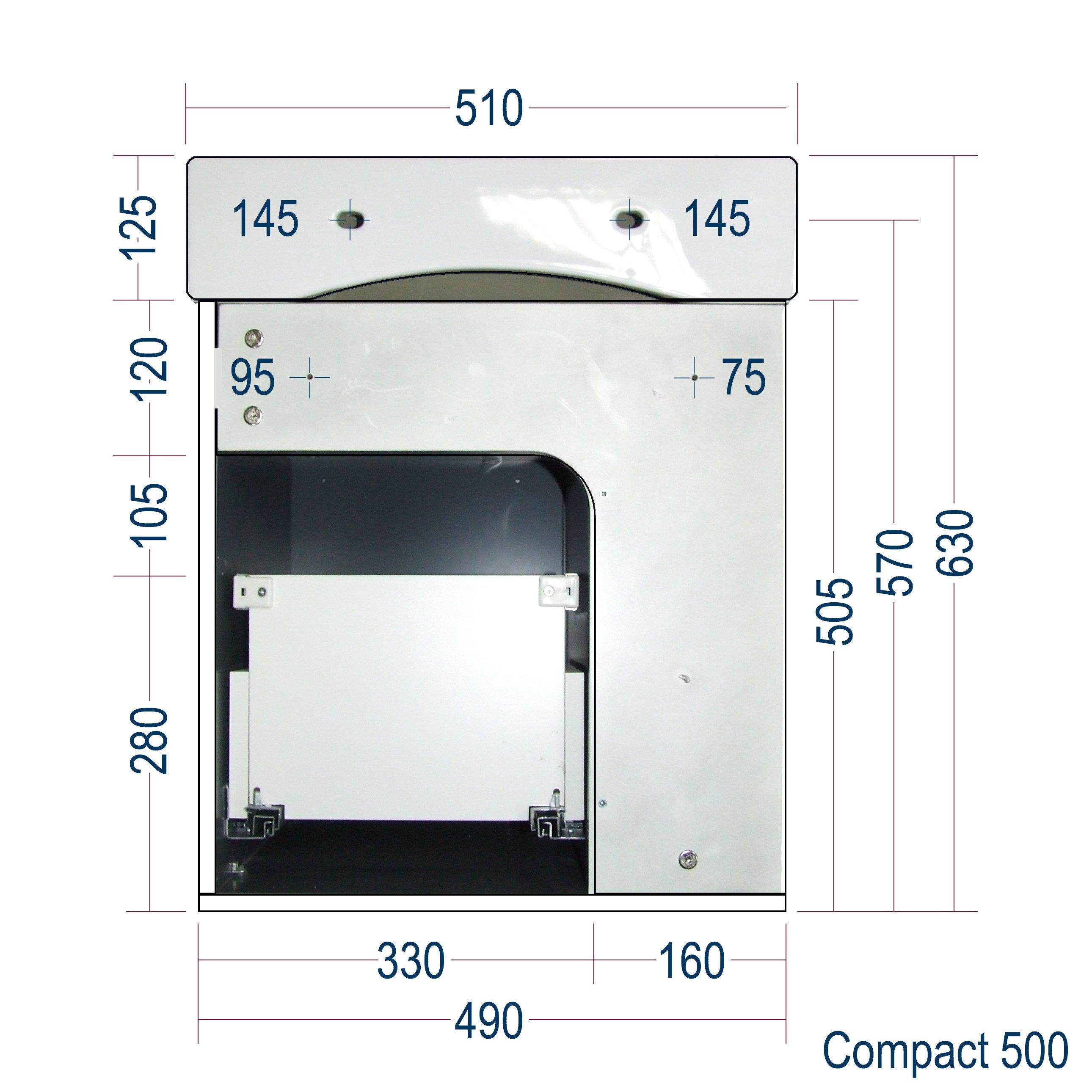 Badmöbel-Set Compact 500 für Gäste-WC - Taupe hell matt zoom thumbnail 5