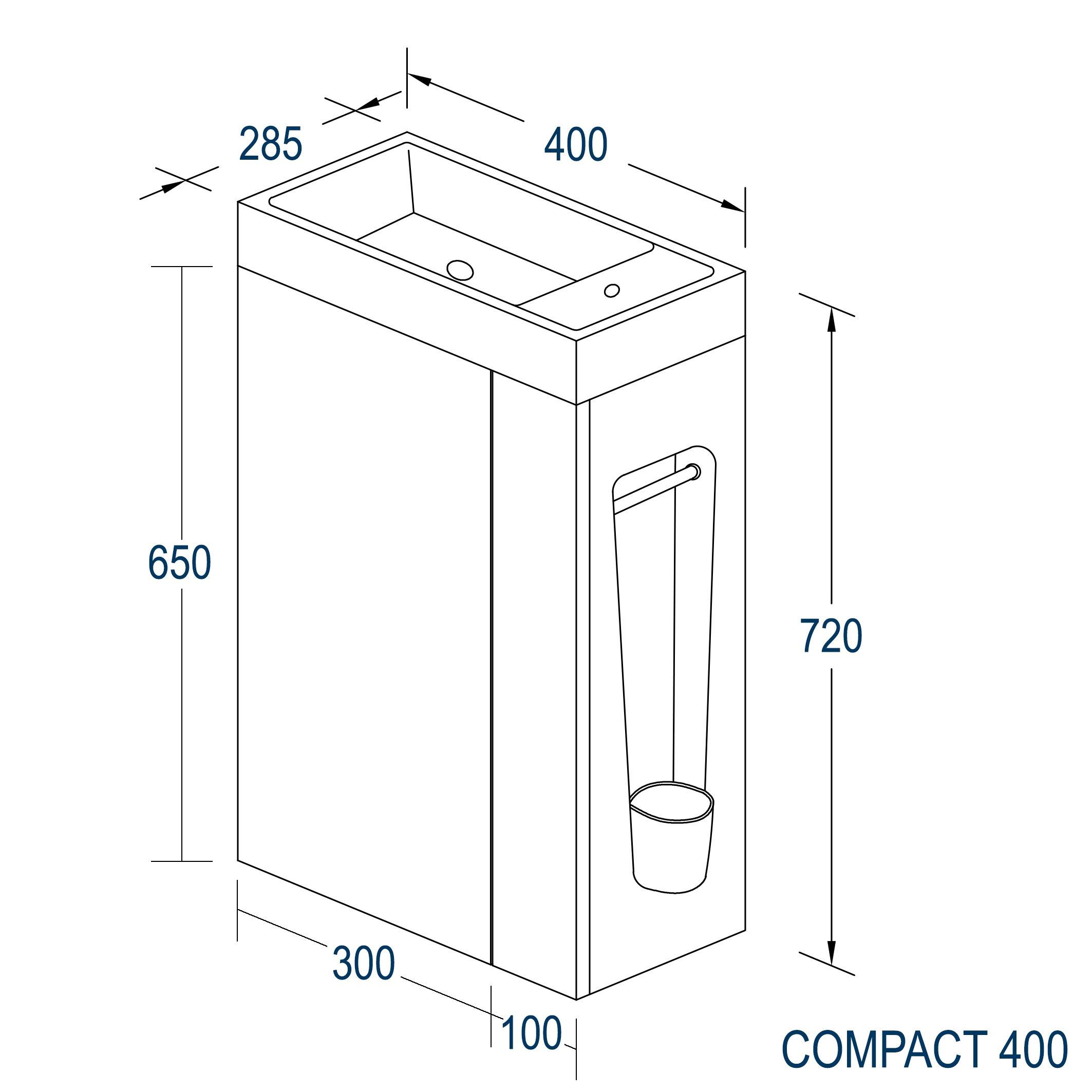 Badmöbel-Set Compact 400 für Gäste-WC - Taupe hell matt zoom thumbnail 6