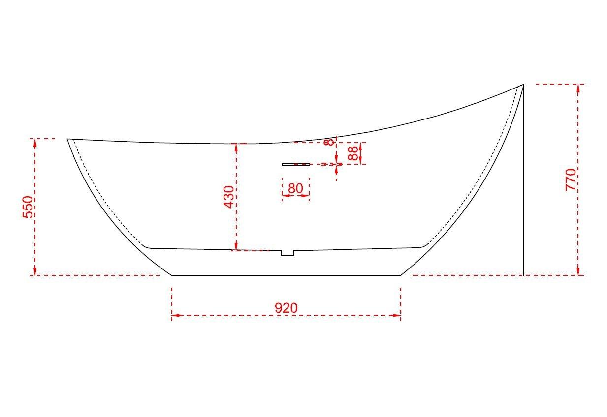 Freistehende Badewanne VICE aus Acryl - 183,5 x 78,5 x 77 cm - Farbe & Standarmatur wählbar zoom thumbnail 5
