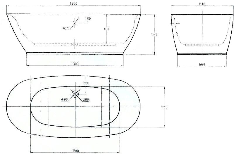 Freistehende Badewanne ROMA ACRYL weiß BS-916 180x84 inkl. Ab/ Überlauf zoom thumbnail 5