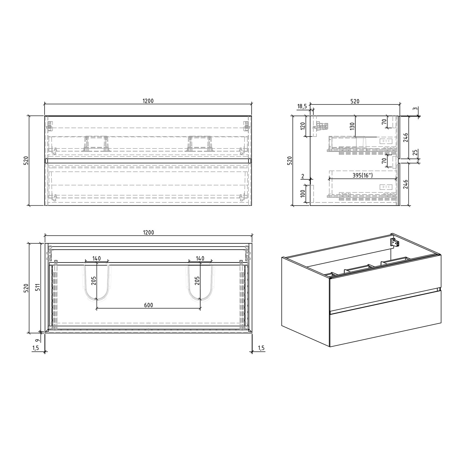Badmöbel-Set EDGE 1200 - Farbe wählbar - Spiegel & Seitenschrank optional zoom thumbnail 6