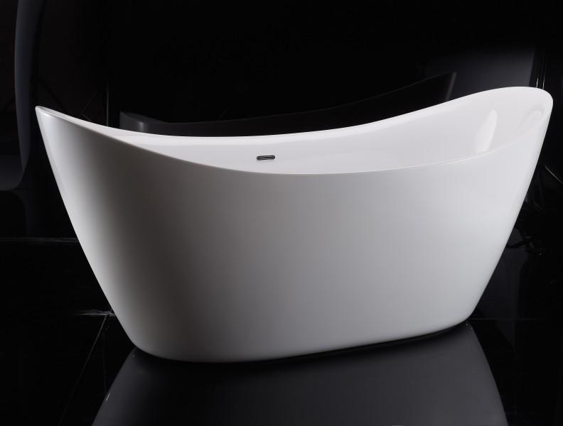 Freistehende Badewanne SIENA Acryl 173 x 73 cm - Weiß glänzend