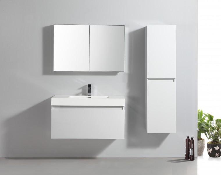 Badmöbel-Set A1000 Weiß inkl. Seitenschrank