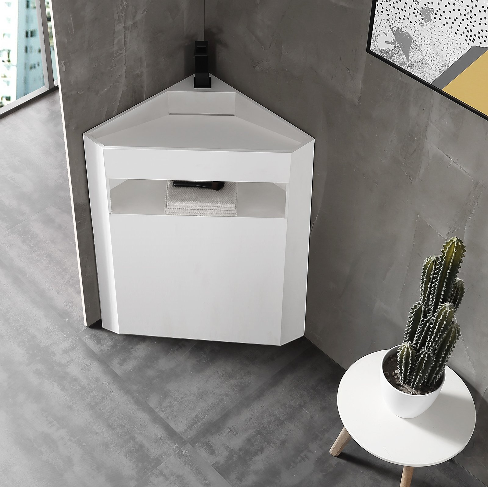 Standwaschbecken aus Mineralguss TWZ70 - Eckwaschbecken Weiß matt - 50 x 50 x 90 cm
