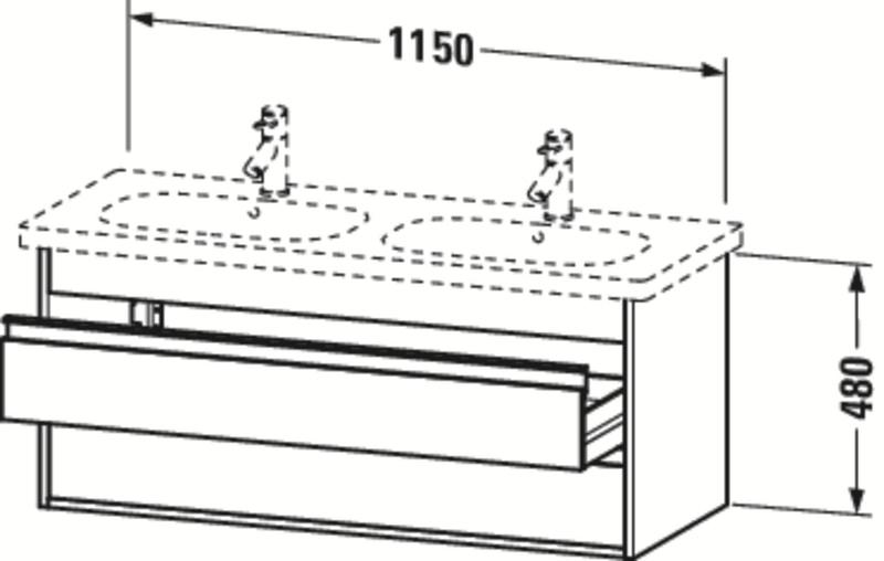 Duravit Ketho Badmöbel Set 1150 mit D-Code Doppel-Waschtisch - Optional mit Seitenschrank und Spiegel  zoom thumbnail 4