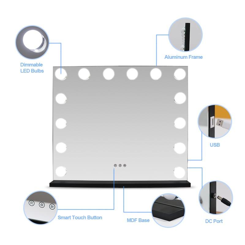 Hollywood Kosmetikspiegel Lichtspiegel E650 inkl. 14 LEDs - Farbe wählbar zoom thumbnail 5