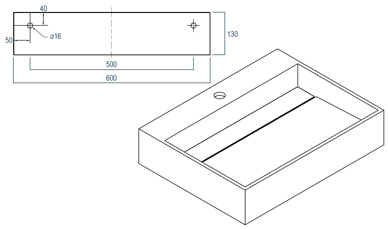 Wandwaschbecken PB2080 aus Mineralguss - 60 x 46 x 13 cm - Weiß matt zoom thumbnail 4