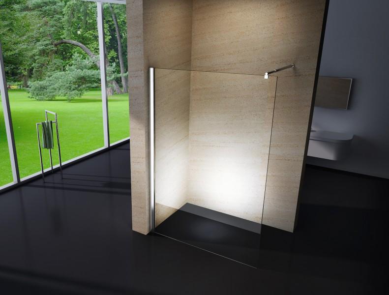 Duschabtrennung Walk-In Nano Echtglas EX101 - 10mm - Klarglas - Breite wählbar