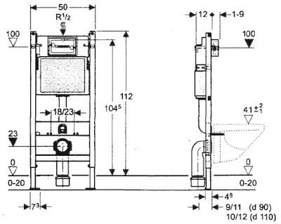 Geberit DUOFIX BASIC 112 cm, SPK UP100 + DELTA 50 Chrom seidenglanz + Schallschutzset