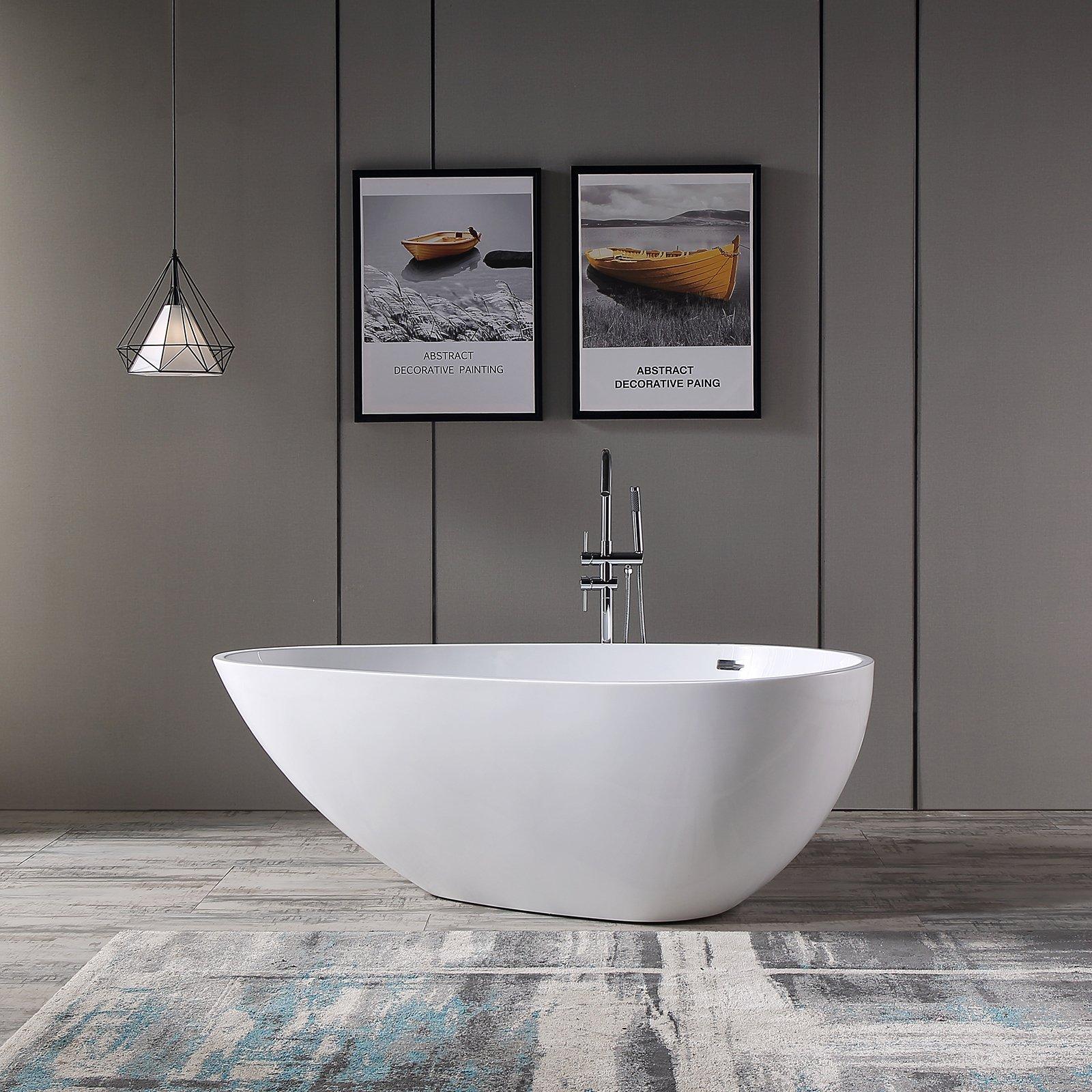 Freistehende Badewanne VENETO Acryl Weiß oder Schwarz/Weiß - Glänzend - 180 x 110 x 60 cm - Standarmatur wählbar
