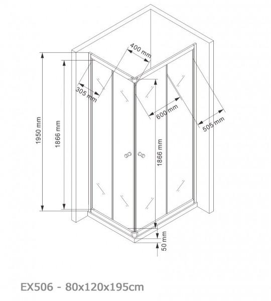 Duschkabine Eckdusche Schiebetüren 6mm NANO Echtglas EX506 - 80x120x195cm zoom thumbnail 5