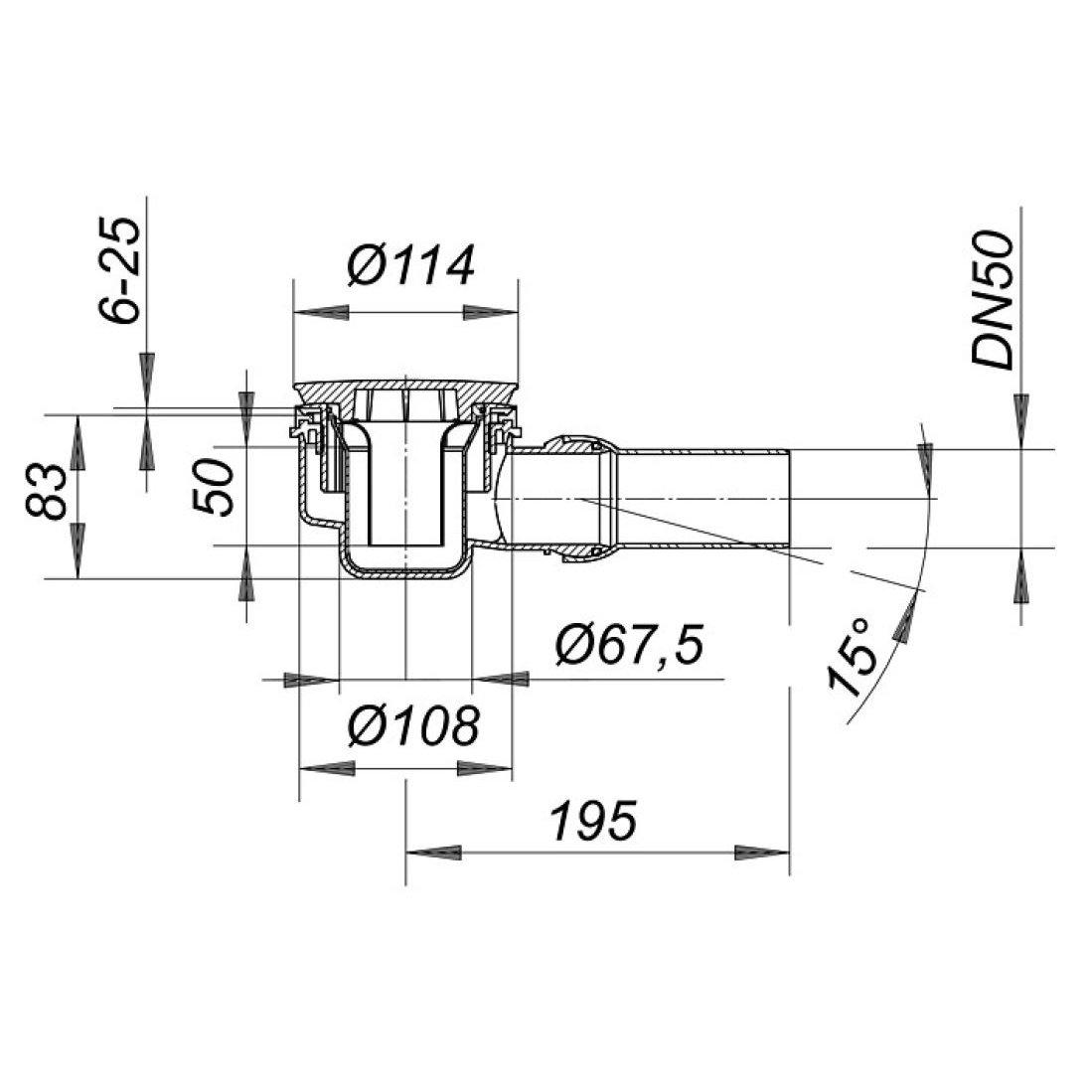 Dallmer Duschwannenablauf ORIO - für Duschtassen mit 90mm Ablaufloch - Kugelgelenk verstellbar von 0 - 15 Grad zoom thumbnail 3