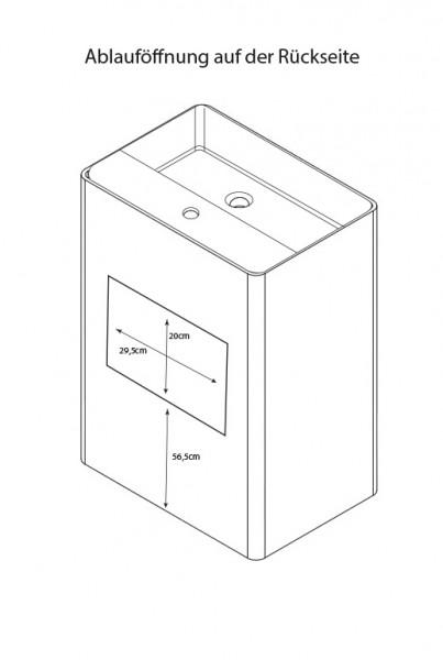 Freistehendes Waschbecken aus Mineralguss PB2022 weiß - 60 x 42 x 90 cm - Solid Stone zoom thumbnail 6