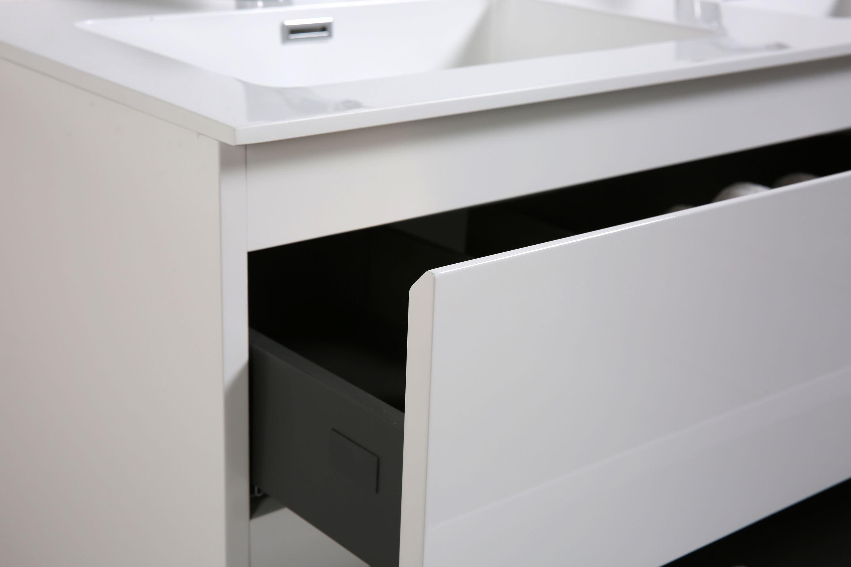 Badmöbel-Set Alice 1200 Hochglanz Weiß - Spiegel und Seitenschränke optional zoom thumbnail 4