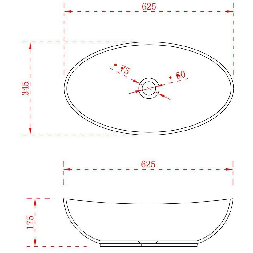 Aufsatzwaschbecken TWA63 aus Mineralguss Solid Stone - Hochglanz - 62,5x34,5x17,5cm zoom thumbnail 3