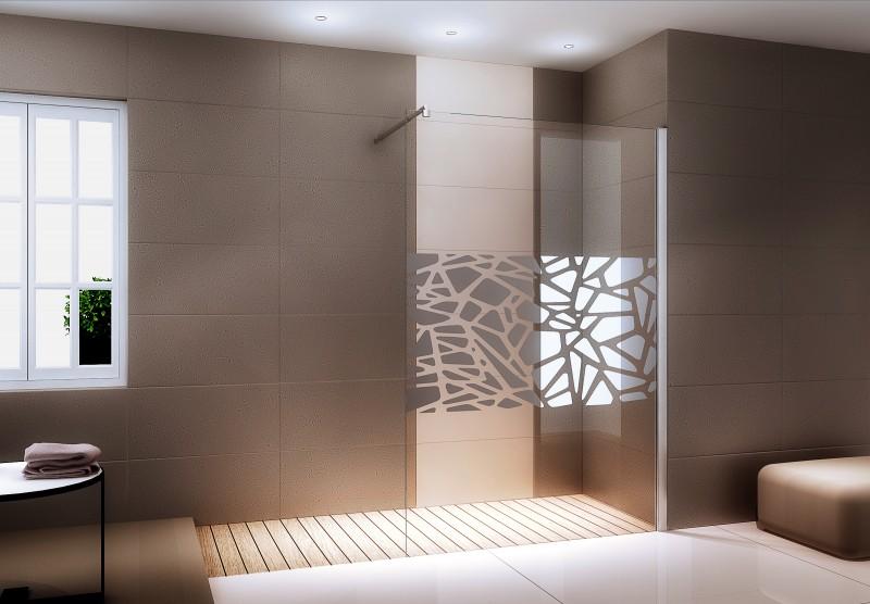 Duschabtrennung Walk-In Nano Echtglas EX101 - Spiegelmuster mittig - Breite wählbar